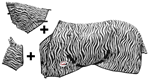 COPERTA A RETE SUPERIORE ZEBRA DESIGN CINGHIE INCROCIO E COPRI COLLO